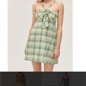 NWT UO 💯 % Cotton Plaid Mini Dress Size Medium